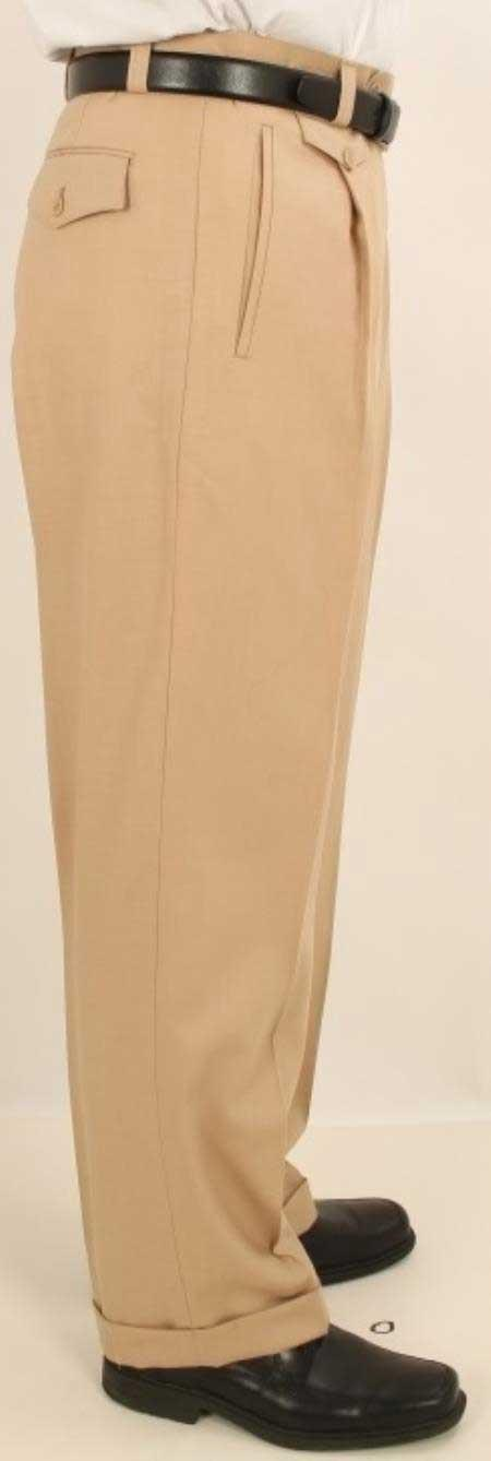 Men's Wide Leg Single Pleated Pants Solid Beige Men's Wide Leg Trousers - Cheap Priced Dress Slacks For Men On Sale