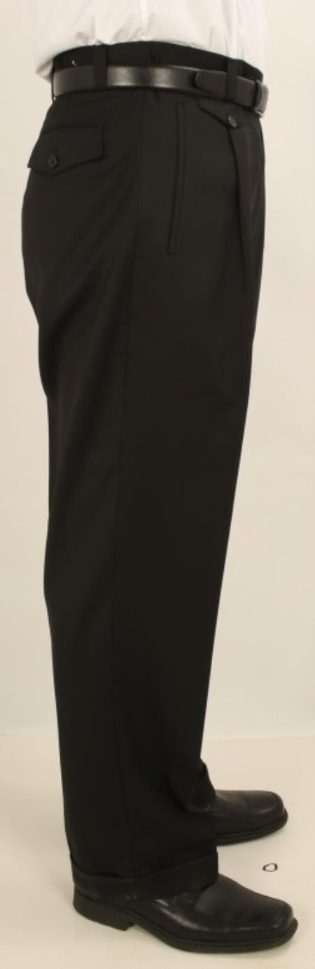1940s Trousers, Mens Wide Leg Pants Mens Wide Leg Single Pleated Pants Solid Black $64.00 AT vintagedancer.com