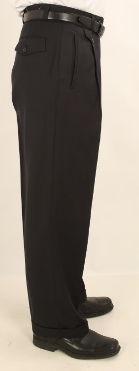 Men's Wide Leg Single Pleated Pants Black Pin Check Men's Wide Leg Trousers - Cheap Priced Dress Slacks For Men On Sale