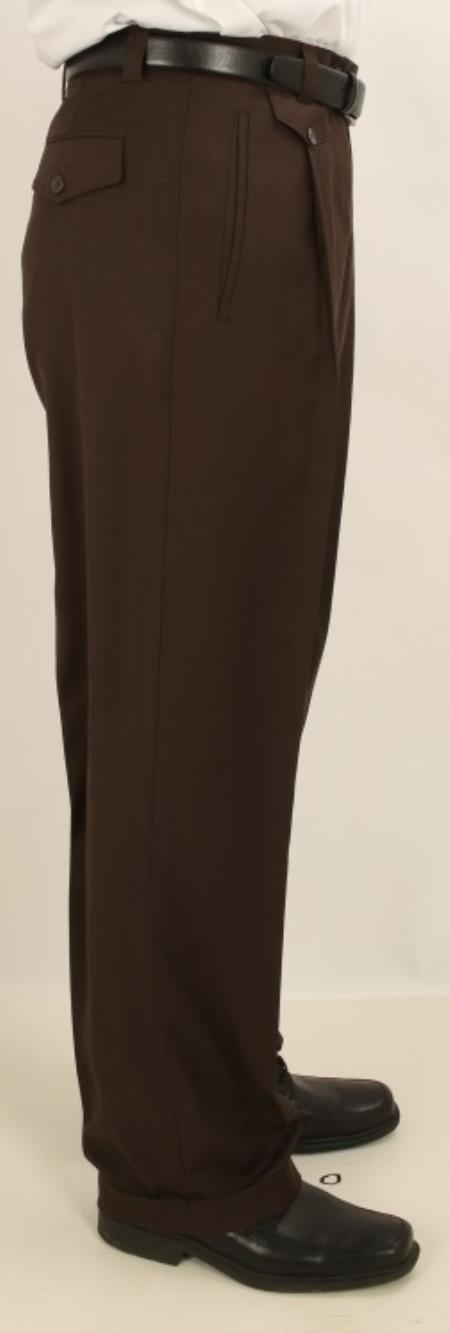 Buy AV61 Men's Wide Leg Single Pleated Pants Solid Dark Brown