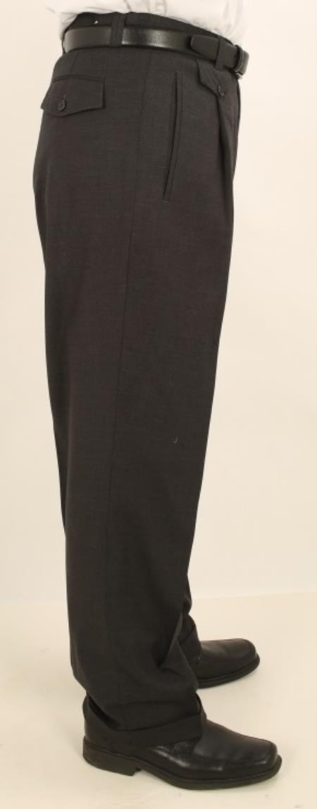 Buy AV95 Men's Wide Leg Single Pleated Pants Solid Dark Charcoal