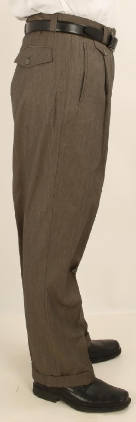 Mens Wide Leg Single Pleated Pants Greenish Charcoal