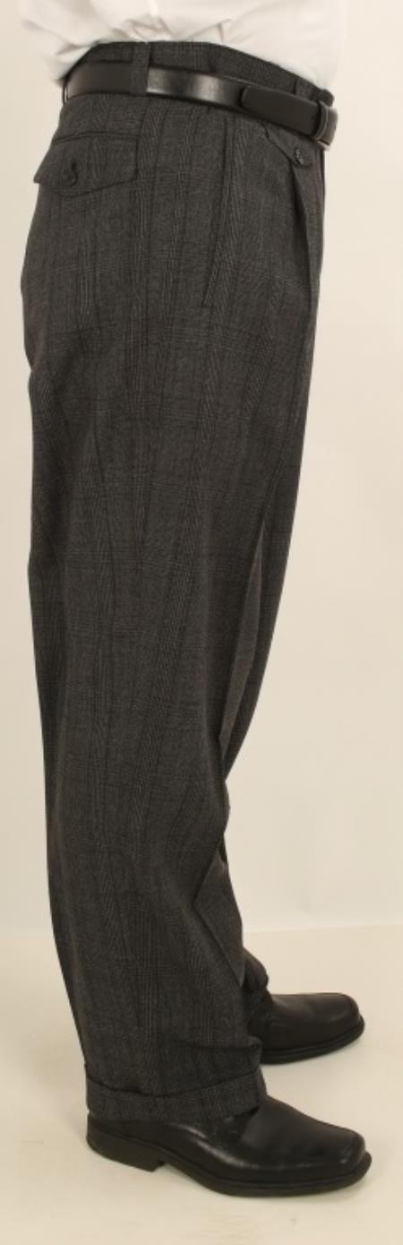 Men's Wide Leg Single Pleated Pants Charcoal W/Black Windowpane