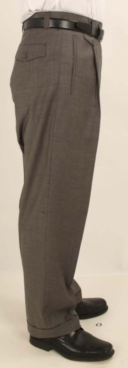 Buy AV79 Men's Wide Leg Single Pleated Pants Solid Gray