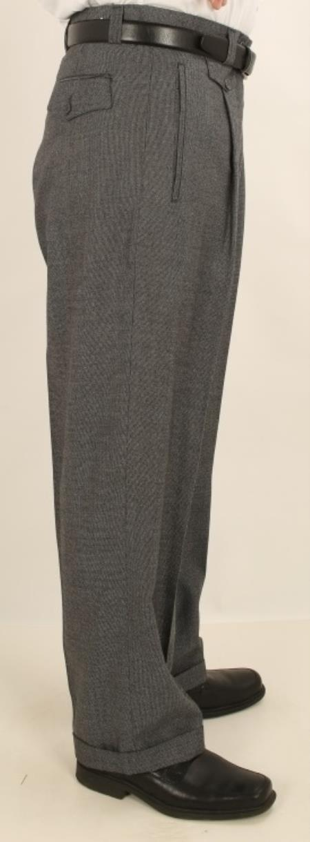 Buy VA47 Men's Wide Leg Single Pleated Pants Gray Sharkskin