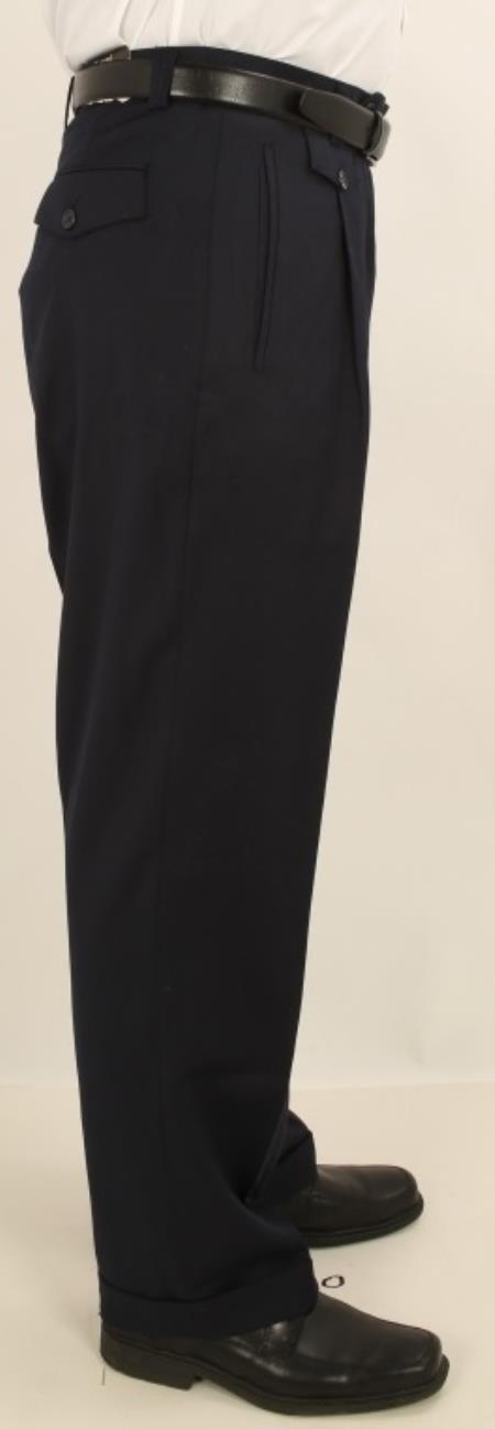 Men's Wide Leg Single Pleated Pants Solid Navy Men's Wide Leg Trousers
