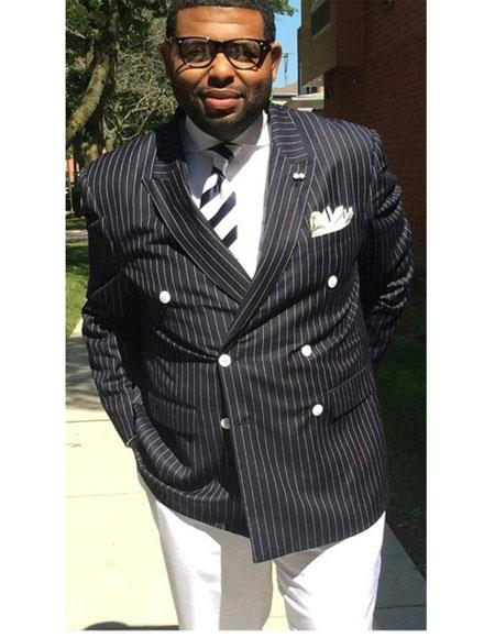 Double breasted chalk pinstriped peak lapel one chest pocket black suit mens