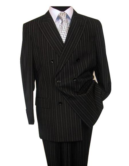 Alberto Nardoni Brand Pinstripe ~ Stripe Pattern Men's Black Button Closure Double Breasted Wool Suit