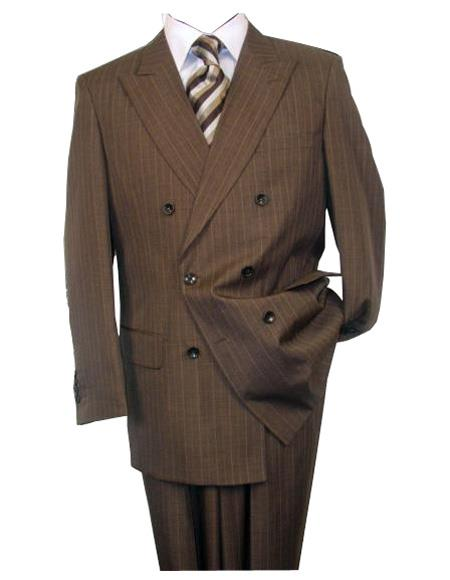 Mens 2020 New Formal Style Pinstripe ~ Stripe Pattern Double Breasted Button Closure Wool Brown Peak Lapel Suit