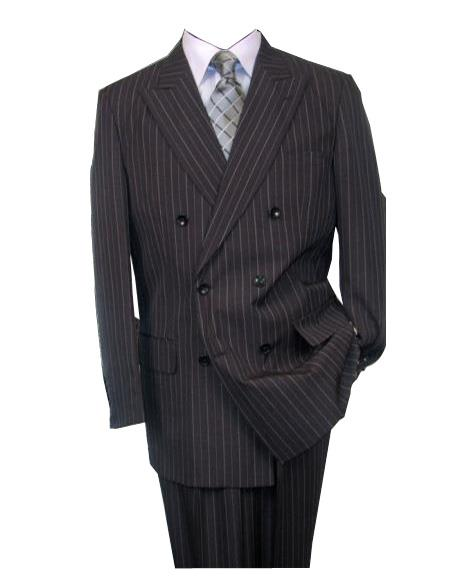 Alberto Nardoni Brand Pinstripe ~ Stripe Pattern Men's Charcoal Double Breasted Wool Peak Lapel Stripe Suit
