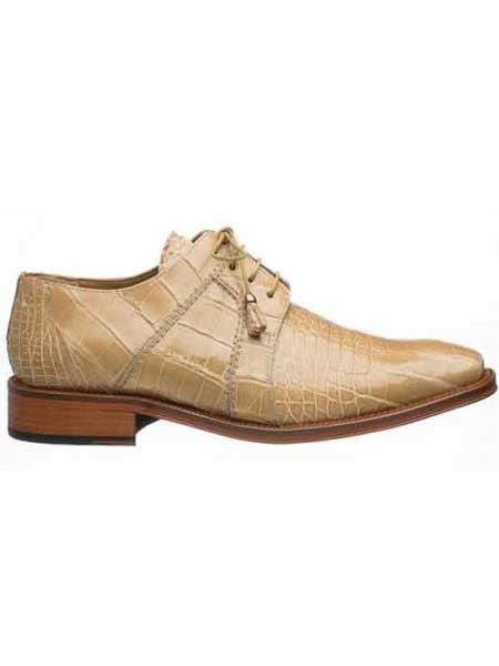 Ferrini Men's Full Genuine World Best Alligator ~ Gator Skin Shoes Beige