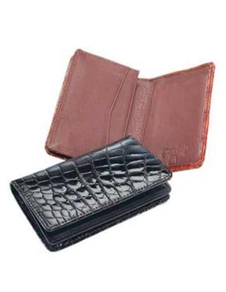 Men's Genuine Exotic Animal Skin Ferrini Genuine Crocodile Card Holder Wallet Black,Cognac