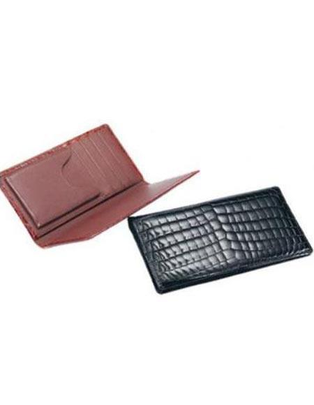 Men's Genuine Exotic Animal Skin Ferrini ABCK Genuine Crocodile Check Book Wallet Black,Cognac
