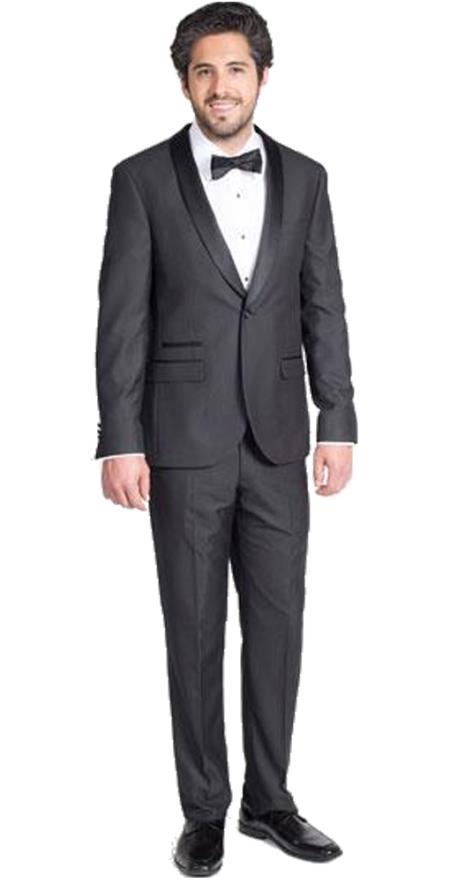 Men's Black Slim Fit Tuxedo with Shawl Lapel  Slim Fit Black Tuxedo - Skinny Fit Tuxedo