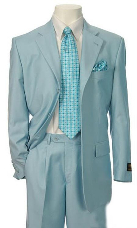 SKU#EMIL_C7 Men's Multi-Stage Party Available in 2 or Three ~ 3 Buttons Style Regular Classic Cut Suit Collection Light Blue ~ Sky Baby Blue