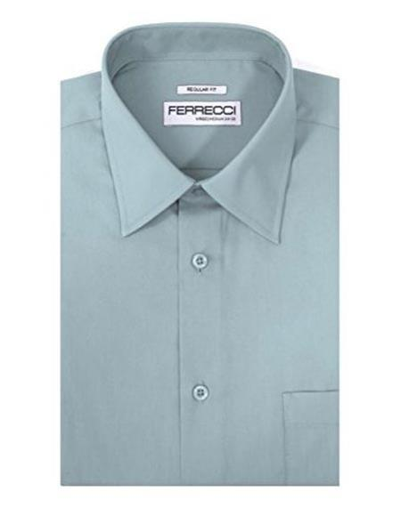 Ferrecci Regular Fit Lay Down Collared Sky Blue Cotton Blend Men's Dress Shirt
