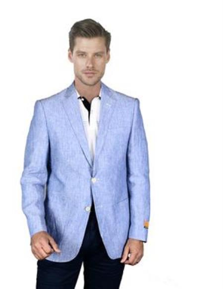 Mens Light Sky Baby Blue Linen Blazer Sport Coat Jacket