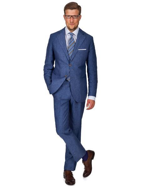 Mens 2 Button Notch Lapel Sky Baby Blue Linen Suit