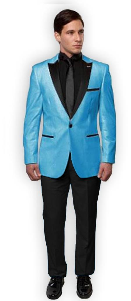 Slim Turquoise ~ Aqua Tuxedo ~ Tux > tiffany Blue With Black Lapel + Black Vest & Black Pants Peak Lapel