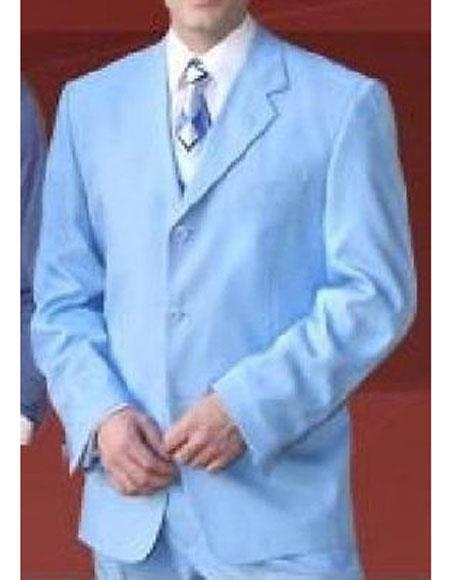 Milano Moda Mens Sky Baby Blue 3 Button Notch Lapel Single Breasted Polyester Suit