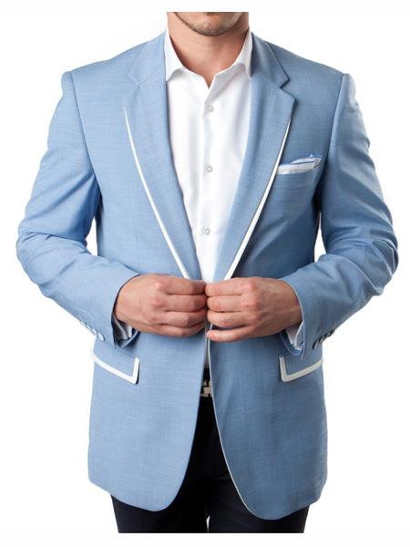 Men's 1 Button Sky Blue Summer Blazer With White Trim Accents Tuxedo Dinner Jacket
