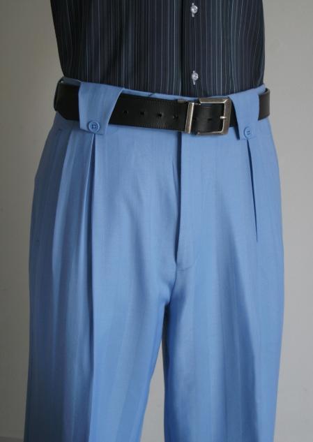 100% Wool Wide Leg Slacks Mens Light Blue ~ Sky Blue Super 150s Dress Pants unhemmed unfinished bottom