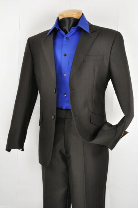 SKU#QQ4822 Mens Slim Fit affordable suit online sale Black