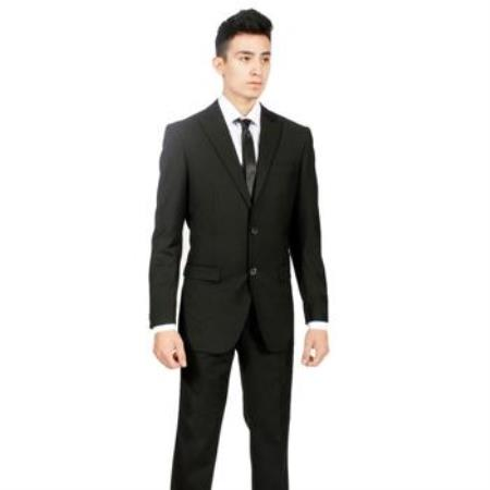 Mens Custom Slim Fit Black 2-piece Two buttons Peak Lapel Cheap Priced Business Suits Clearance Sale No Pleated Pants