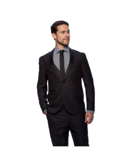 West End Mens Black Young Look Slim Fit Satin-Detailed Tuxedo