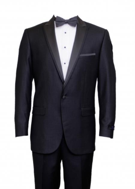 Mens Charcoal 1 Cover Button Front Closure Suit Peak Lapel Tuxedo Suit - Wide Lapel Tuxedo