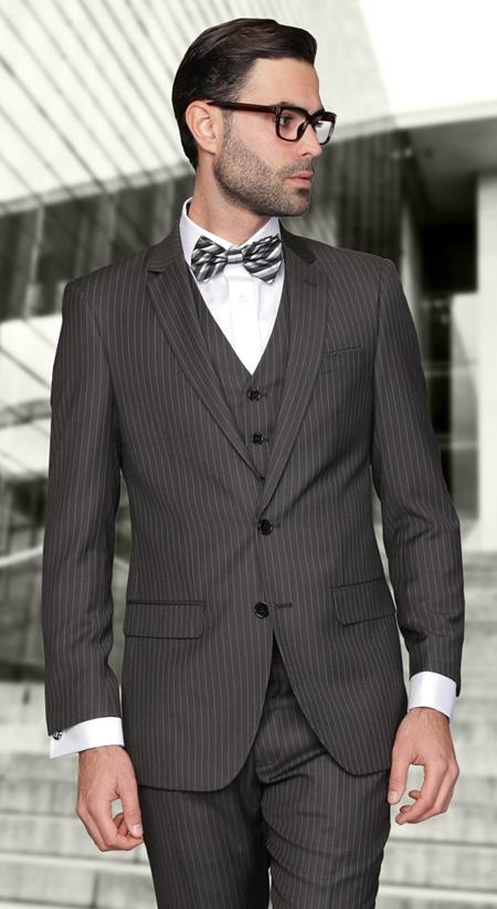 European cut style Jacket & Pants Slim Fit Suits Mens Charcoal Wool Pinstripe Three Piece Lorenzo