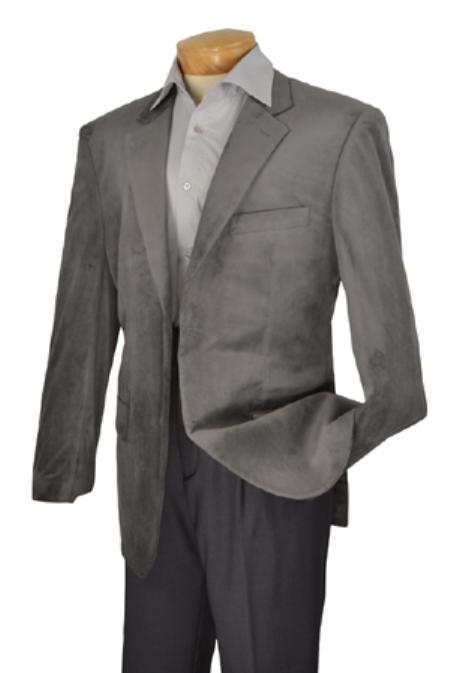 SKU#KA1179 Mens Edition High Fashion Fine Slim Fit velvet sportcoat Gray