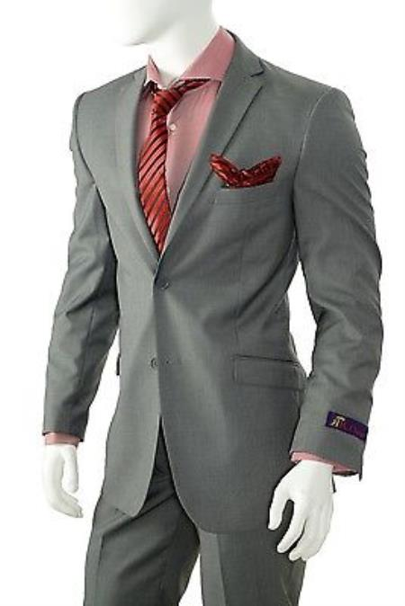 Mens Solid Gray Slim Fit Suit Vent Online Discount Fashion Sale Cheap Priced Business Suits Clearance Sale For Men