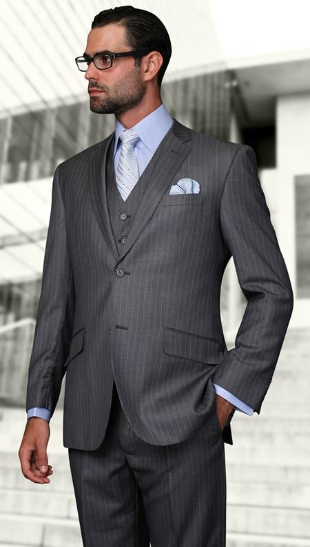 European cut style Jacket & Pants Slim Fit Suits Mens Gray Wool Pinstripe Three Piece Lorenzo