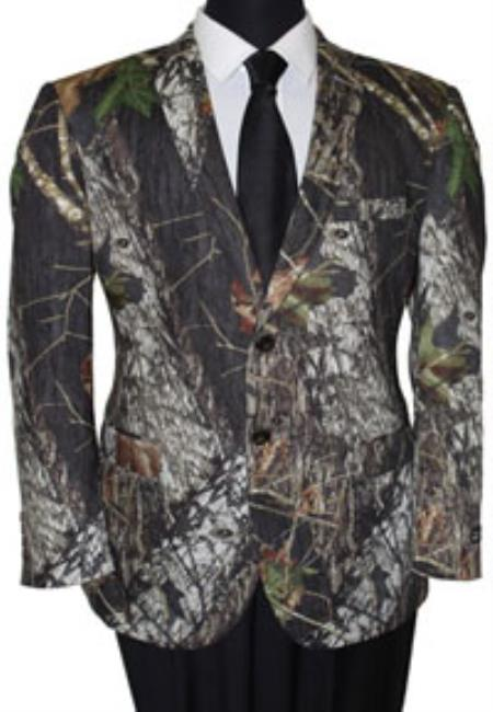 Men's Tazio Bark and Leaf Pattern Slim Fit Sport Coat Green