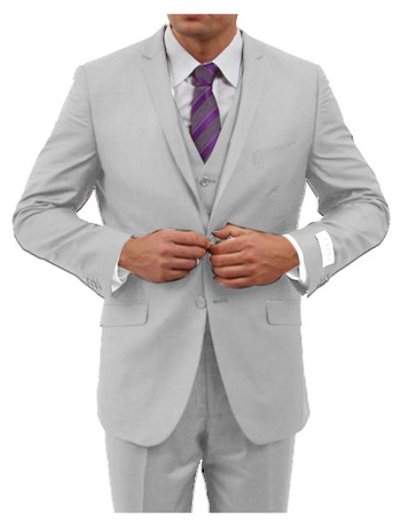 Mens Light Grey Three Piece  Slim Fit Fully Lined Suit