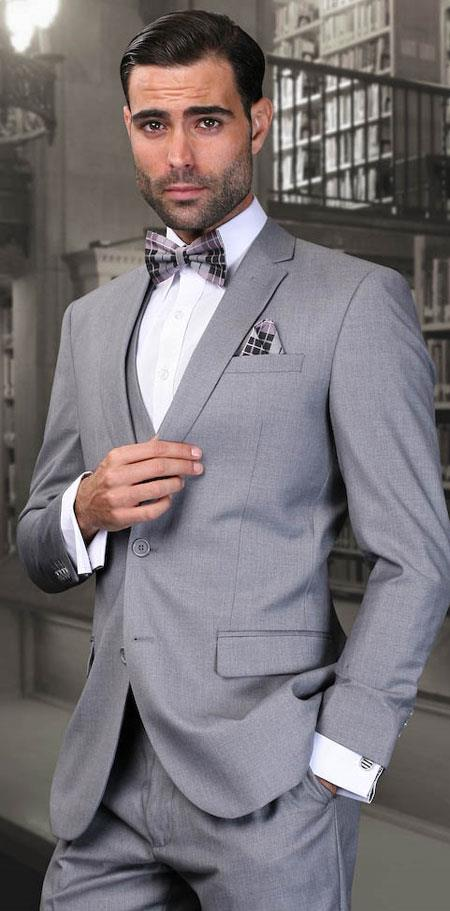 SKU#AC-940 Mens Slim Fit Grey Wool Lorenzo European cut style Three Piece Jacket & Pants Suits