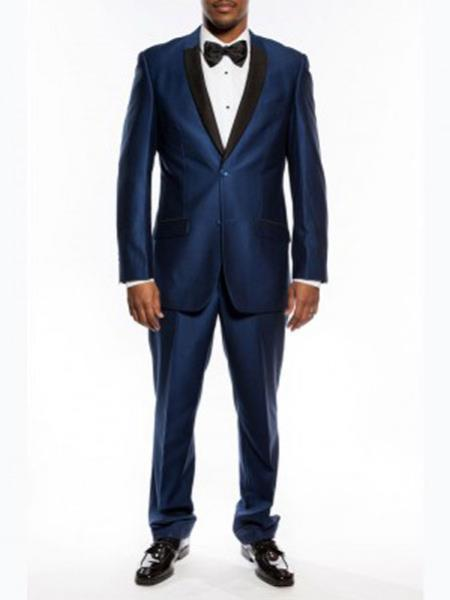 Mens Slim Fit Tuxedo Two Button Shawl Trim Lapel Navy Blue