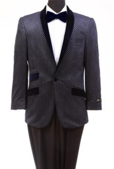Buy MK703 Men's Tazio Retro Cross Weave Slim Fit Dinner Jacket Navy Tuxedo Jacket / Blazer Mens / Tux / Dinner Jacket Looking