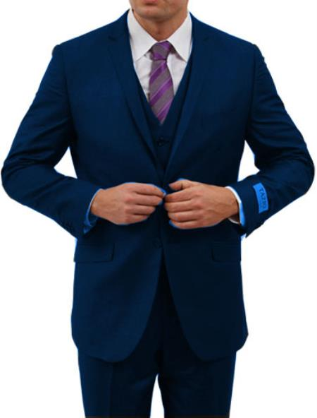 Slim Fit Suit Men's Dark Navy Lapel Pick Stitched Suit Flat Front Pants - Three Piece Men's Slim Fit Suits