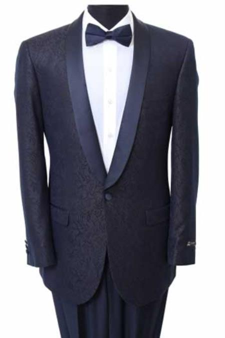 Men's Navy Slim Fit Sport Coat Satin Trim Suit