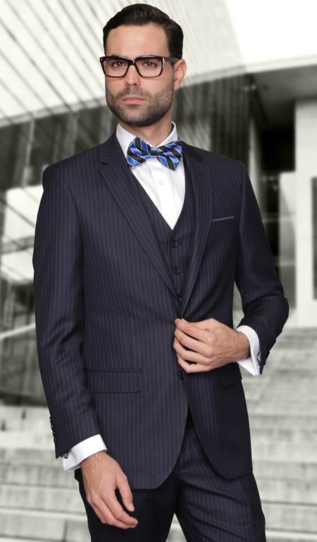 European cut style Jacket & Pants Slim Fit Suits Mens Dark Navy Wool Pinstripe Three Piece Lorenzo - Dark Blue Suit Color