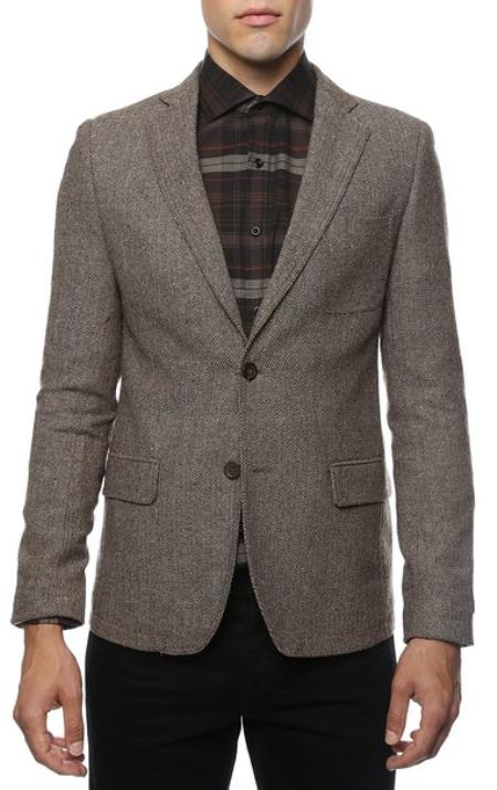 Mens Slim Fit Tweed houndstooth checkered patterned Blazer Jacket Sport coat Brown Herringbone Tweed