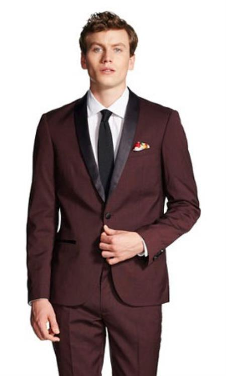 Mens Slim Fit With Front Button Shawl Collar Tuxedo Jacket Black and Burgundy ~ Wine ~ Maroon Color