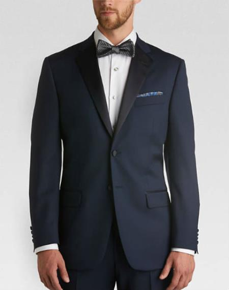 Men's Satin Lapel classic Slim Fit Tuxedo With flat-front Pants Navy