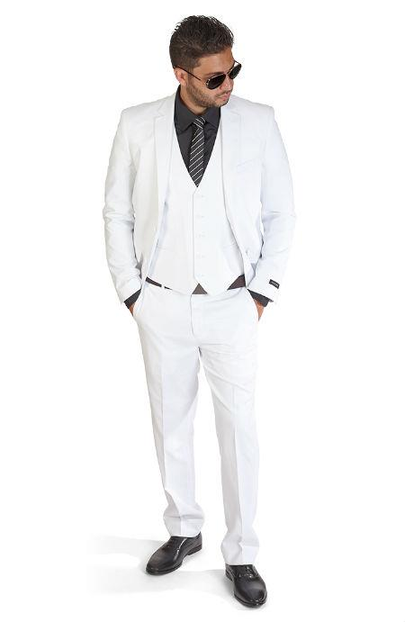 Mens Slim Fit 3 Piece White Suit