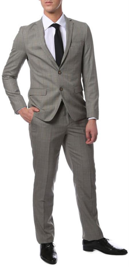Extra Slim Fit Suit Mens Grey Glen Plaid Skinny Extra Slim Fit Suit