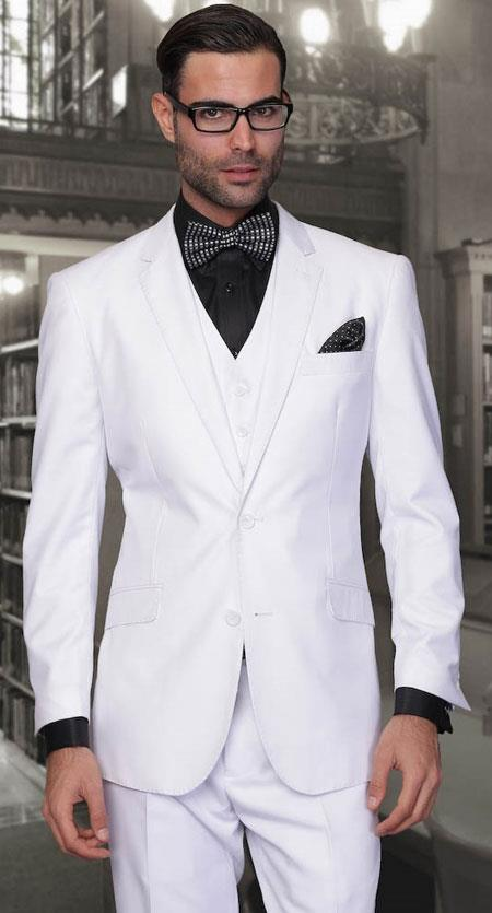 European cut  White Fine Wool Suit