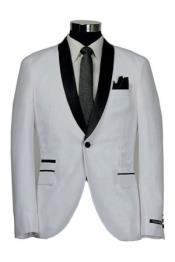 1 Button Slim Fitted Shawl Tuxedo White