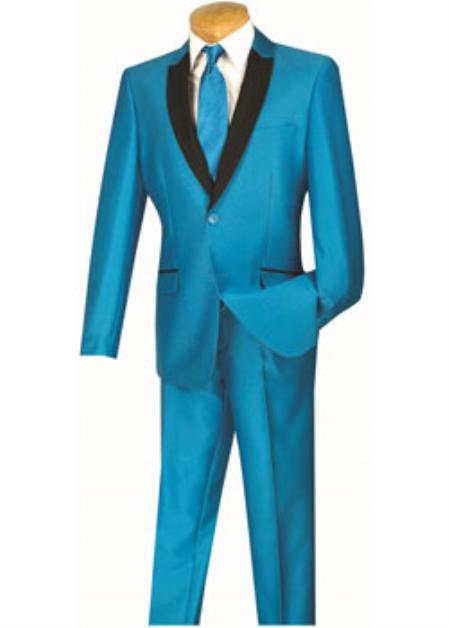 Mens Slim Turquoise ~ Aqua and Sky ~ Baby blue and Black Lapel Suit Tuxedo Dinner jacket Blazer ~  Sport coat looking